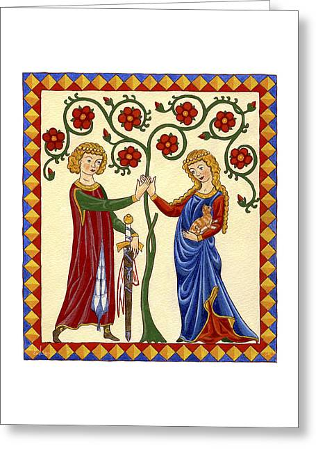 Courtly Love With Cat Greeting Card