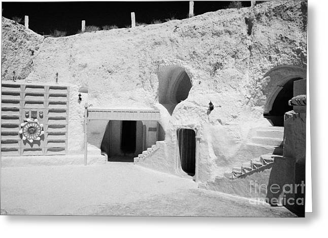 courtyard and steps leading to caves of the Sidi Driss Hotel underground at Matmata Tunisia scene of Star Wars films with film props Greeting Card