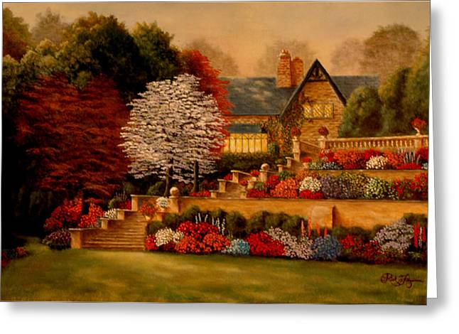 Courtyard Dawning Greeting Card by Rick Fitzsimons