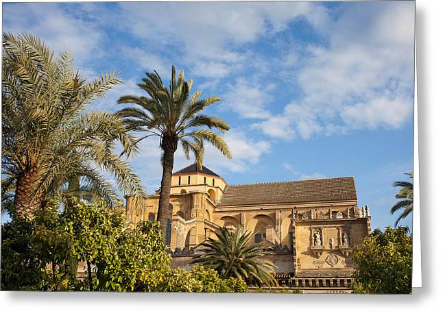 Courtyard Garden And Mezquita Cathedral Of Cordoba Greeting Card by Artur Bogacki