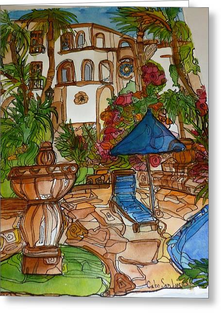 Courtyard In Cobo Greeting Card by Michelle Gonzalez
