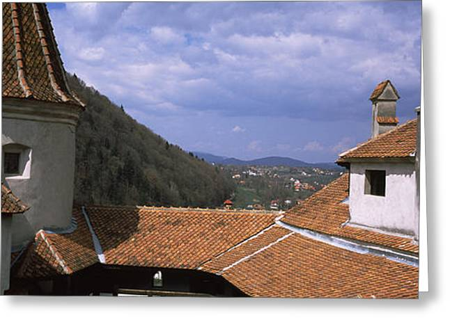 Courtyard Of A Castle, Bran Castle Greeting Card by Panoramic Images