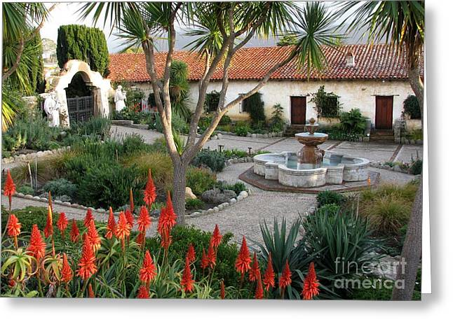 Courtyard Of The Carmel Mission Greeting Card