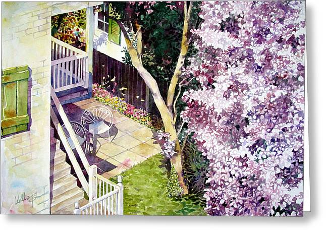 Courtyard With Cherry Blossoms Greeting Card