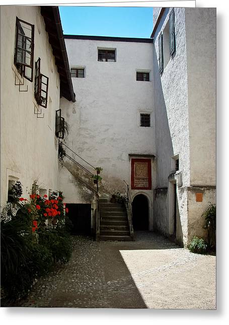 Courtyard Within Hohensalzburg Greeting Card by Ronda Broatch