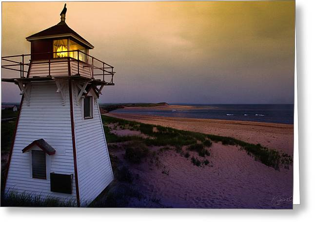 Covehead Lighthouse At Sunset Greeting Card