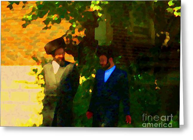 Covenant Conversation Two Men Of God Hasidic Community Montreal City Scene Rabbinical Art Carole Spa Greeting Card by Carole Spandau