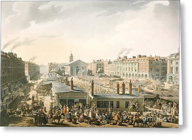 Covent Garden Market, 1811 Greeting Card