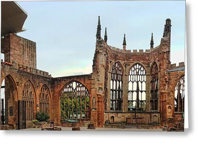 Coventry Cathedral Ruins Panorama Greeting Card