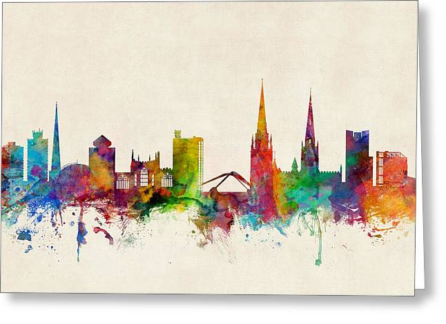 Coventry England Skyline Greeting Card by Michael Tompsett