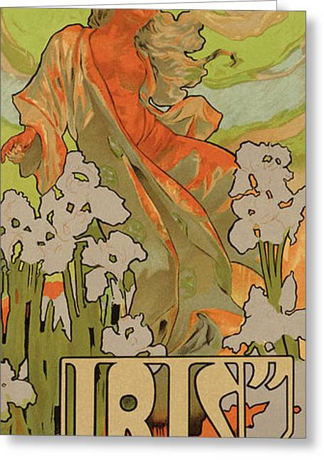 Cover Of Score And Libretto For Iris Greeting Card by Adolfo Hohenstein