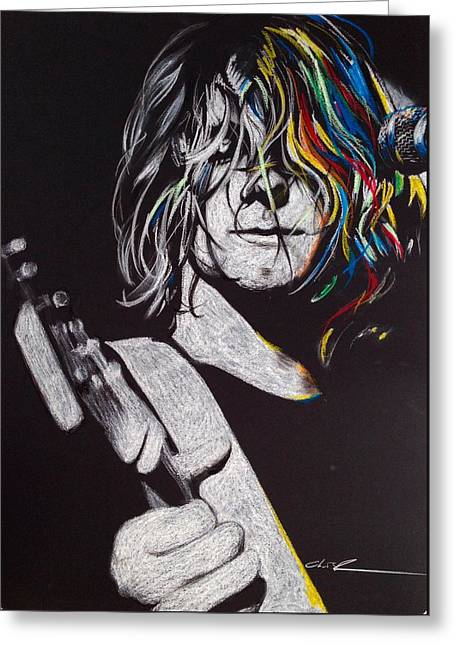 Kurt Cobain - ' Cover The Hair In Your Eyes ' Greeting Card by Christian Chapman Art