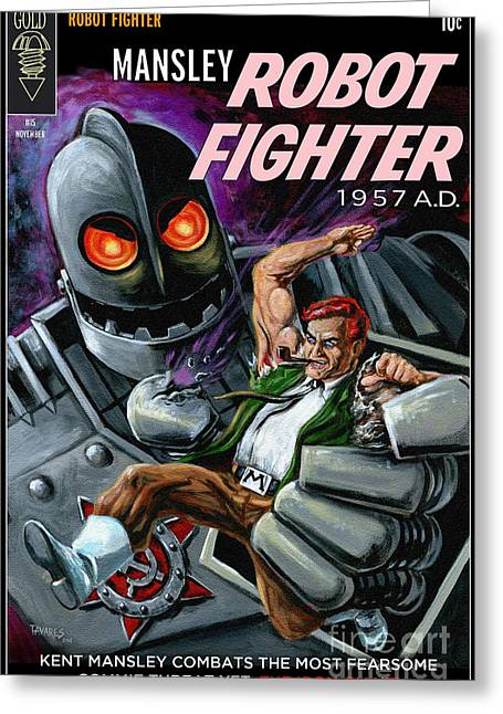 Cover To Mansley Robot Fighter Greeting Card