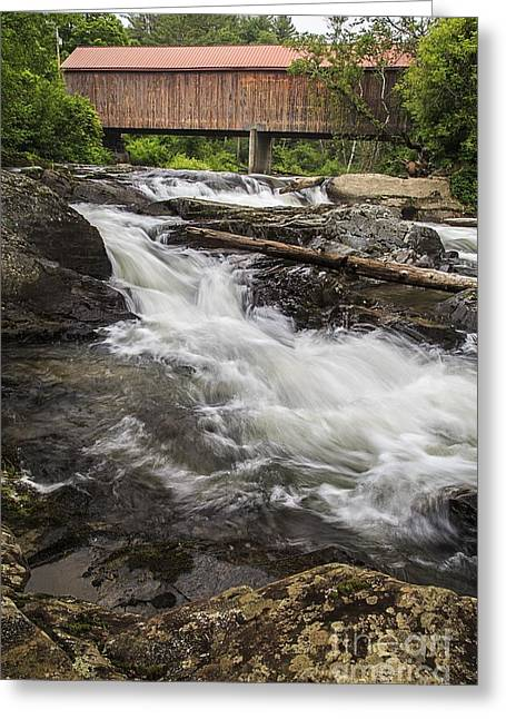 Covered Bridge And Waterfall Greeting Card