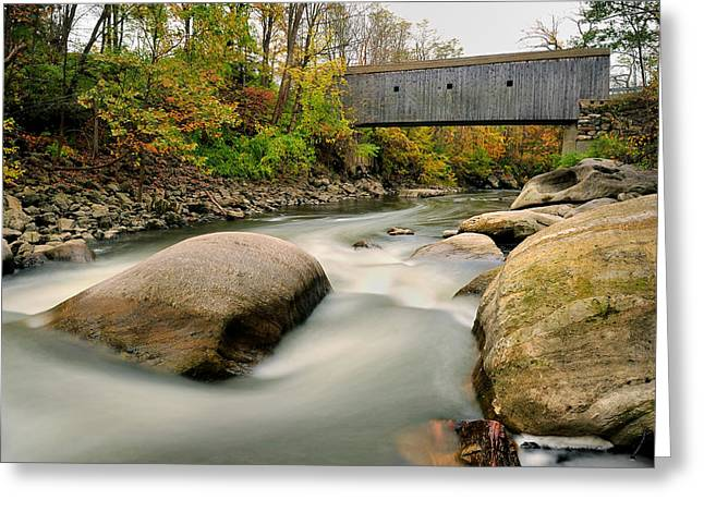 Covered Bridge At Bull Run - Kent Connecticut Greeting Card by Thomas Schoeller
