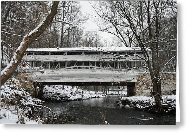 Covered Bridge At Valley Forge Greeting Card by Bill Cannon