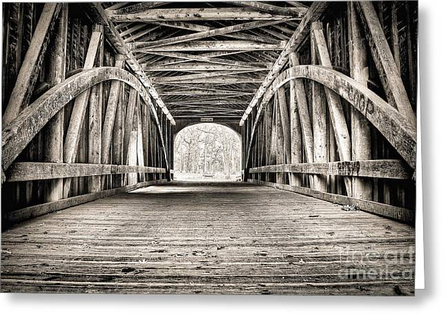 Covered Bridge B N W Greeting Card