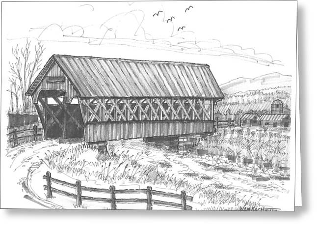 Covered Bridge Coventry Vermont Greeting Card by Richard Wambach