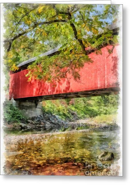 Covered Bridge Greeting Card by Edward Fielding