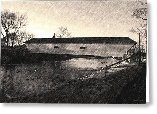 Greeting Card featuring the photograph Covered Bridge Elizabethton Tennessee C. 1882 Sepia by Denise Beverly
