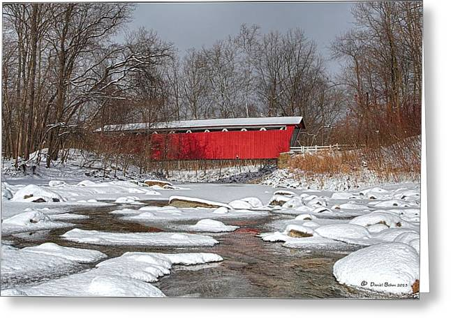 covered bridge Everett rd. Greeting Card by Daniel Behm