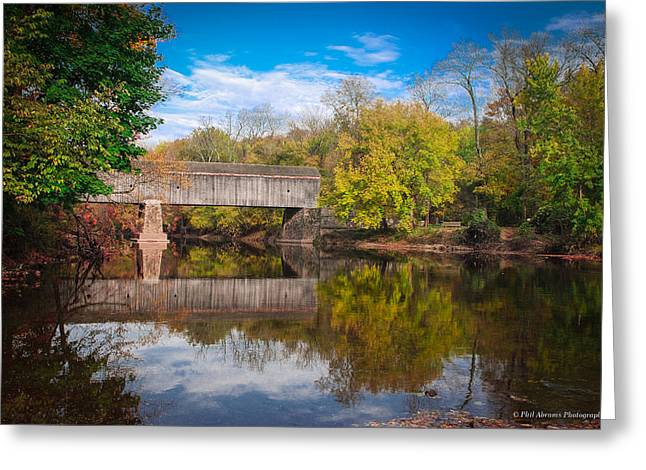 Greeting Card featuring the photograph Covered Bridge In Autumn by Phil Abrams