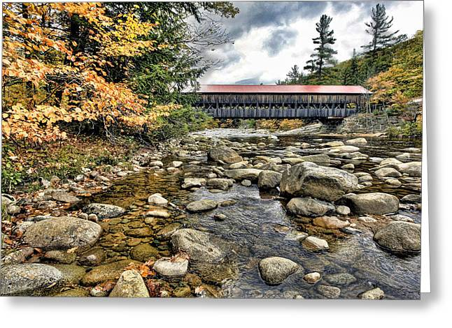 Covered Bridge In New Hampshire Greeting Card by James Steele