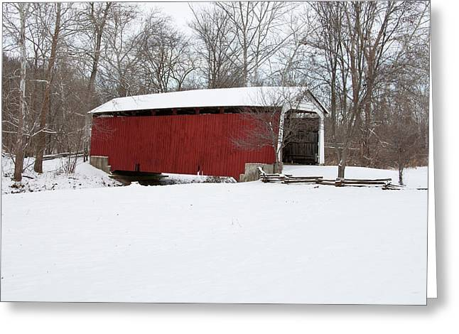 Covered Bridge In Snow Covered Forest Greeting Card