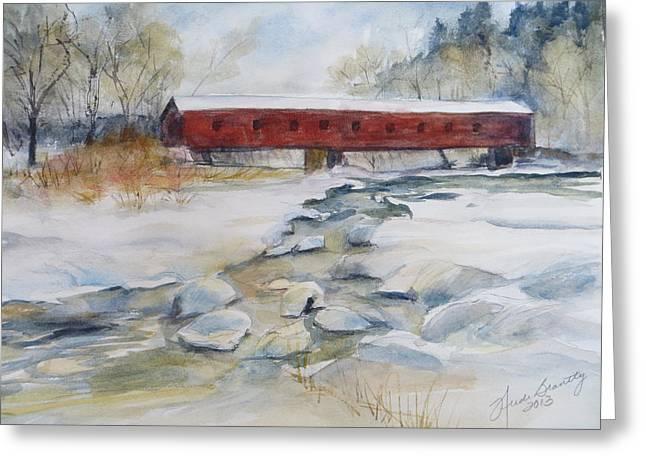 Covered Bridge In Snow Greeting Card by Heidi Brantley