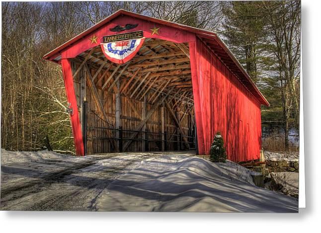 Covered Bridge In Snow Greeting Card by Patti Burnett