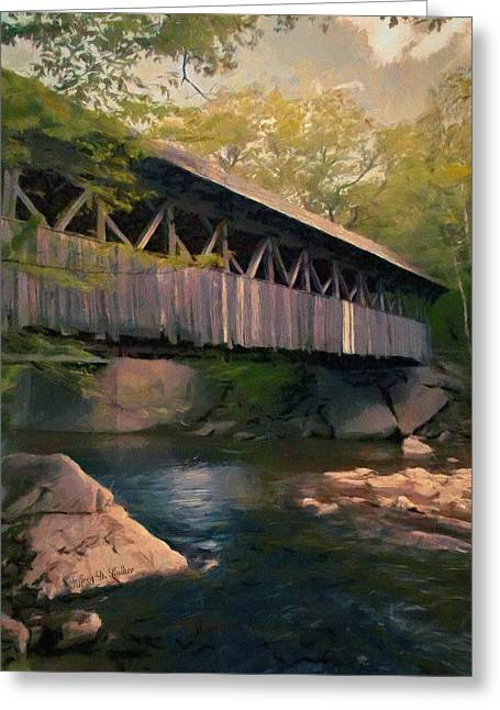 Greeting Card featuring the painting Covered Bridge by Jeff Kolker