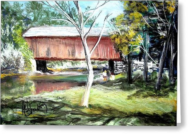 Covered Bridge Newport Nh Greeting Card by Art  Stenberg