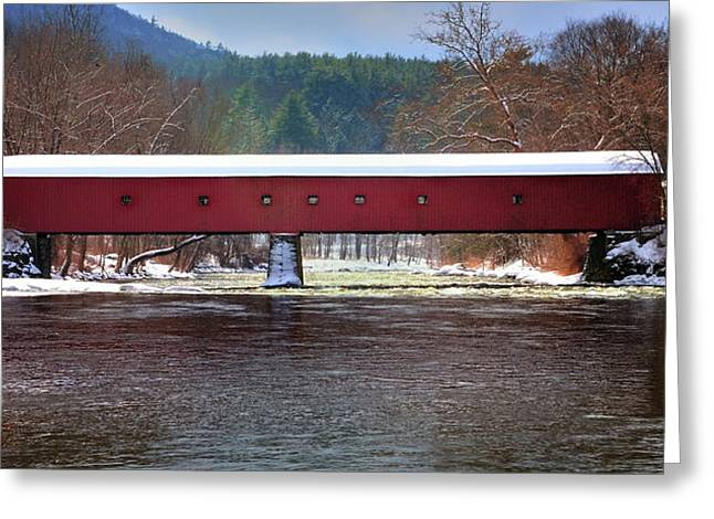 Covered Bridge Of West Cornwall-winter Panorama Greeting Card