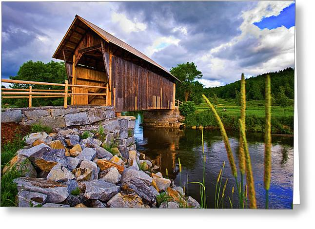 Covered Bridge On River, Vermont, Usa Greeting Card