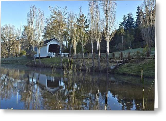 Covered Bridge Panorama California Landscape Art Larry Darnell Greeting Card by Larry Darnell