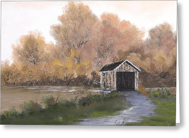 Covered Bridge Greeting Card by Randall Brewer