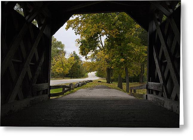 covered Bridge road Greeting Card by Jeff Klingler