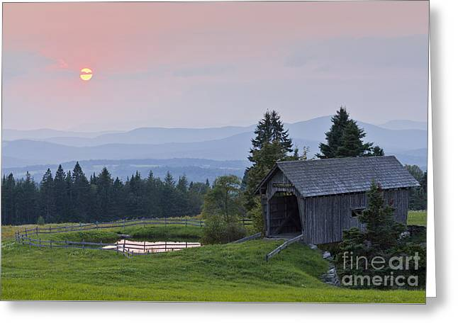 Covered Bridge Sunset Greeting Card