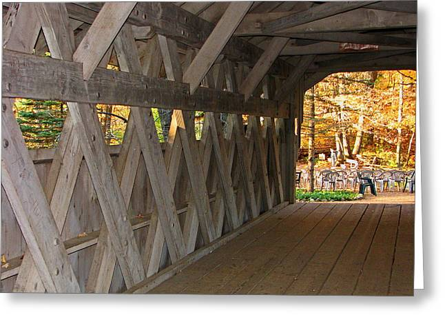 Covered Bridge Greeting Card by Victoria Sheldon