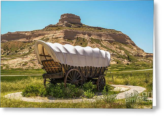 Greeting Card featuring the photograph Covered Wagon At Scotts Bluff National Monument by Sue Smith