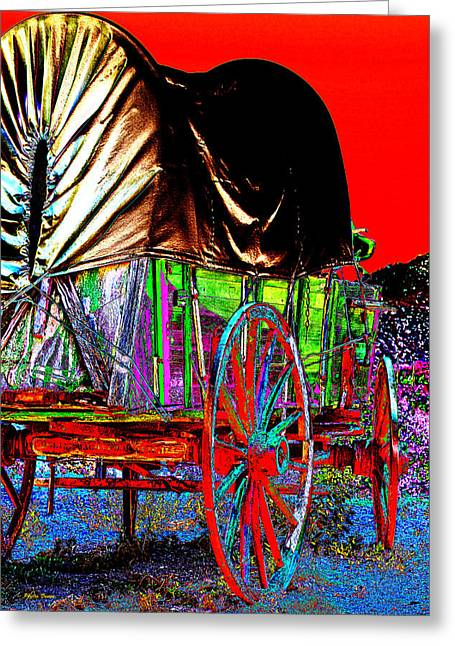 Covered Wagon Pop Art Greeting Card by Phyllis Denton