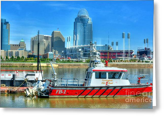 Covington Fire Boat Greeting Card by Mel Steinhauer