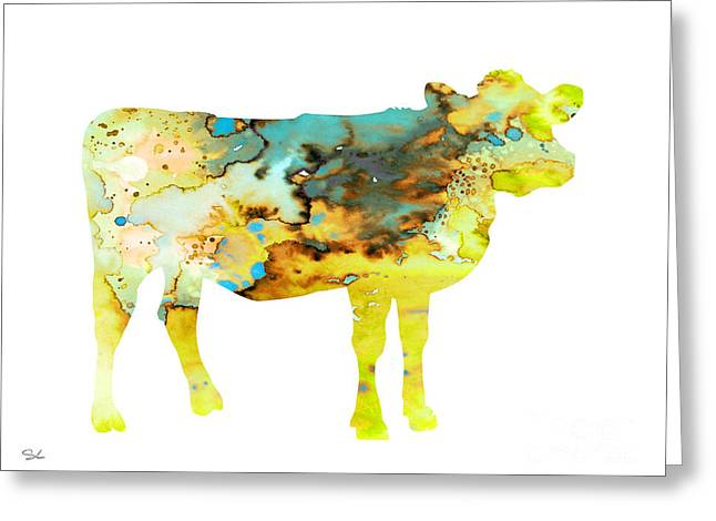 Cow 3 Greeting Card by Watercolor Girl