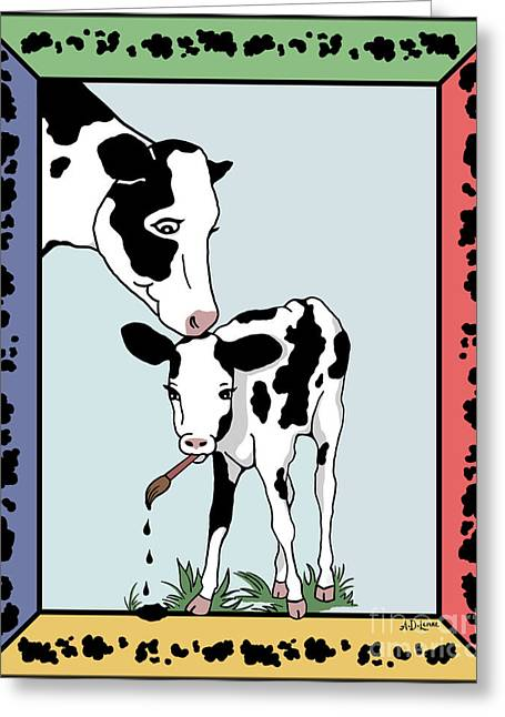 Cow Artist Cow Art Greeting Card by Audra D Lemke