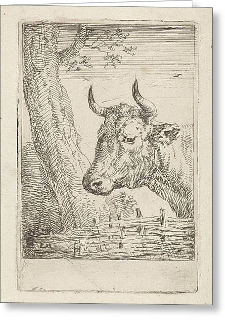 Cow At A Willow Fence, Aert Schouman, Paulus Potter Greeting Card