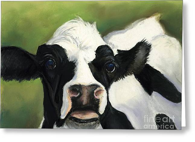Cow Closeup Greeting Card by Charlotte Yealey