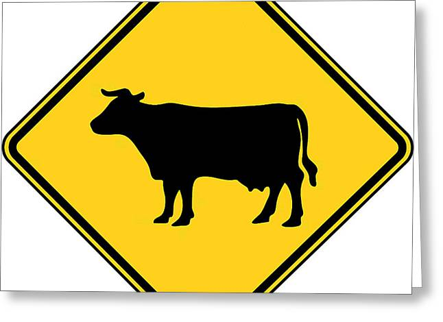 Cow Crossing Sign Greeting Card by Marvin Blaine