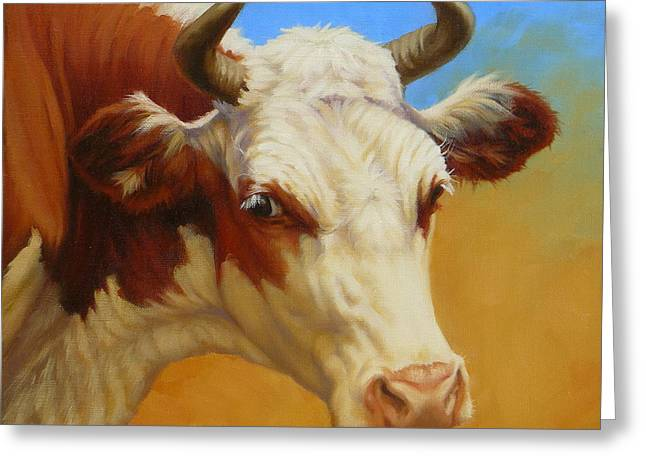 Cow Face Greeting Card by Margaret Stockdale