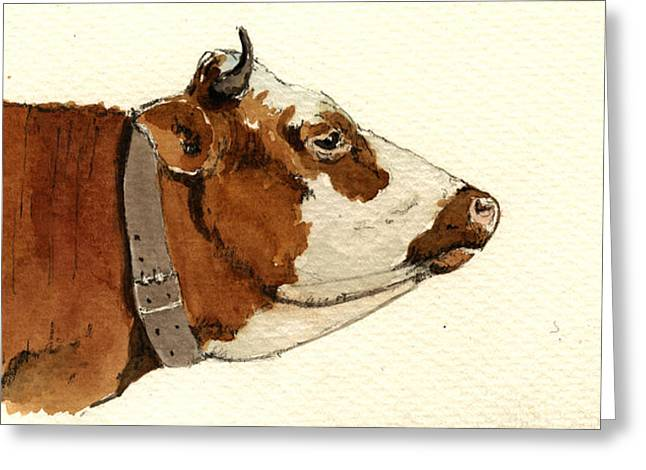 Cow Head Study Drawing Greeting Card by Juan  Bosco