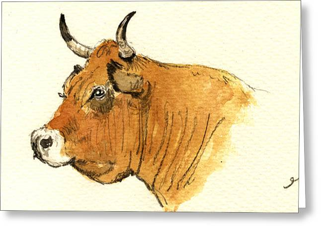 Cow Head Study Greeting Card by Juan  Bosco